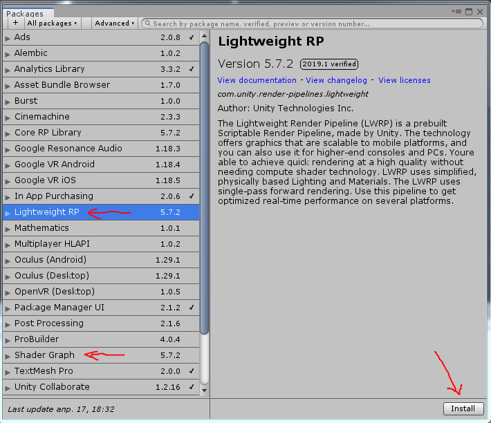 Проект на базе Lightweight Render Pipeline (LWRP) » NULLcode Studio